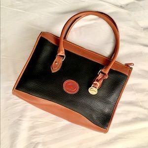 Dooney & Bourke Black Tan Slim Speedy Handbag USA